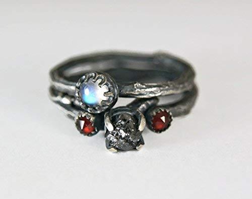 (Rough Black Diamond Sterling Silver Twig Ring Moonstone Engagment Set)