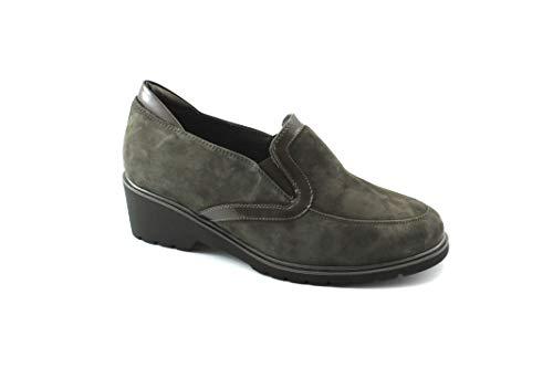 Melluso Zapatos Plomo Grigio Cuña Gamuza Mujer R35723 Elástico Gris Comodidad qPHgnPr
