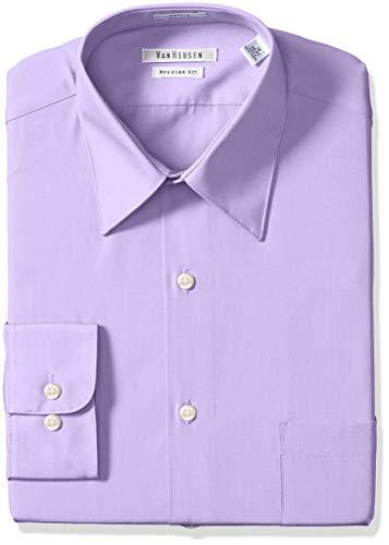 "Van Heusen Men's Big and Tall Poplin Regular Fit Solid Point Collar Dress Shirt, Lavender, 18.5"" Neck 36""-37"" Sleeve"