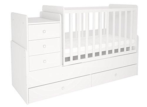 Polini Kids Cama infantil, para bebe, ninos, 1100con comoda blanco Weiß