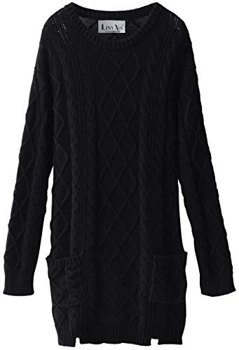 Black Cashmere Sweater Crewneck (Liny Xin Women's Cashmere Knitted Crewneck Long Sleeve Winter Wool Pullover Long Sweater Dresses Tops (M, Black))