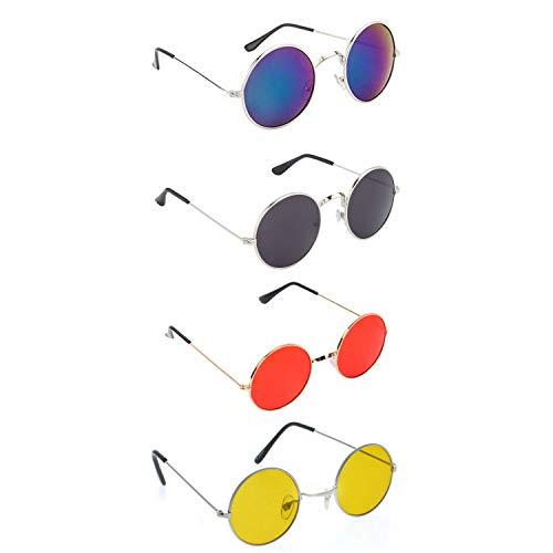 Crazywinks Men's and Women's Gandhi Round Shape Retro Sunglasses Shades (Multicolor, Combo of 4; Lens Width : 50 mm)