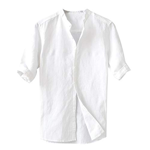 Men's Solid Color Shirt,LuluZanm Sales! Male Breathable Button Down Half Sleeve Blouse Loose Vintage Comfortable Top White