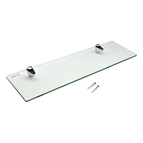 Oak Glass Shelf - Harbour Housewares Glass Bathroom Shelf with Chrome Fixings - Tempered Glass - 50cm