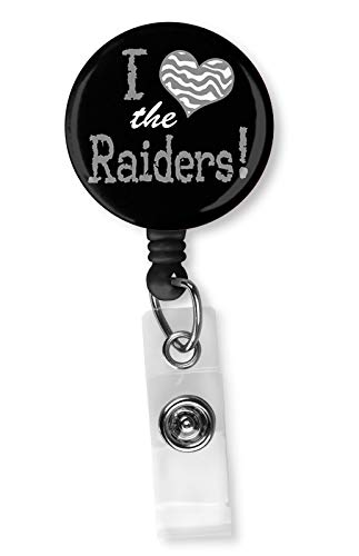 (Football Team Inspired Retractable ID Card Badge Holder with Alligator Clip Name Nurse Decorative Badge Reel Clip on Card Holders (I Heart The Raiders))