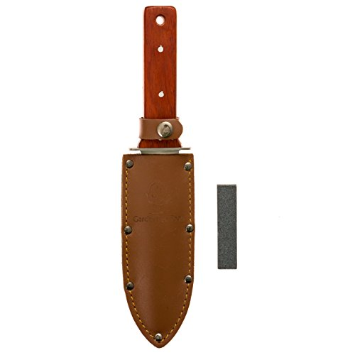 Hori Hori Full Tang Gardening Knife With Red Paduk Handle And Metal Hand Guard + Genuine High Quality Leather...
