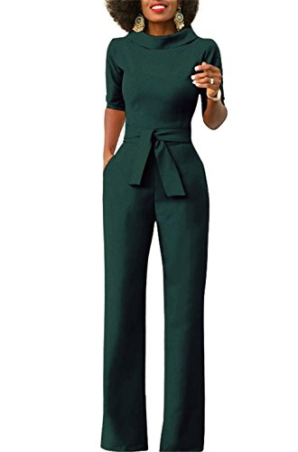 Formal Pant Suit - KISSMODA Women's Jumpsuit Formal Celebrity Style Lapel Long Length Pants Jumpsuits Green Medium