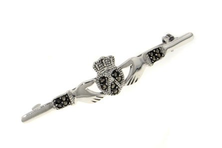 Sterling Silver Genuine Marcasite Celtic Claddagh Bar Pin or Brooch