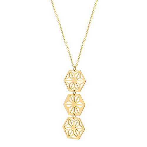 Long Hexagon Pendant Necklace 18k Gold Plated Geometric Jewelry for Women 27.5'' ()