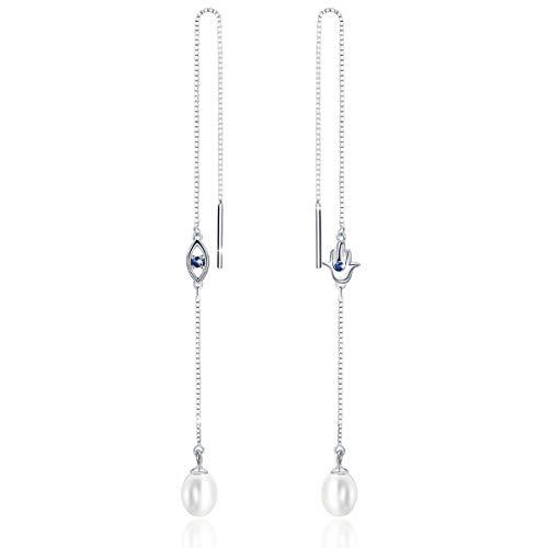 (PEARLOVE Freshwater PearlLong Earrings Threader Dangle Drop Earrings 925 Sterling Silver Long Chain Ear Linear Earring for Women With Gift Box )