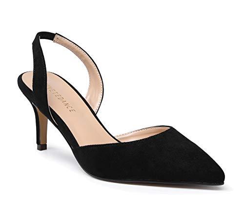 - SUNETEDANCE Women's Slingback Pumps Pointed Toe Kitten Heels Slip On Stiletto Sandals Ankle Strap Shoes 6CM Heels Suede Black Pump 9.5 M US