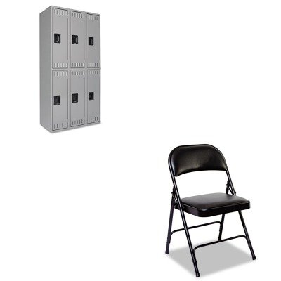 KITALEFC96BTNNDTS121836CMG - Value Kit - Tennsco Double Tier Locker (TNNDTS121836CMG) and Best Steel Folding Chair With Padded Back/Seat (ALEFC96B)