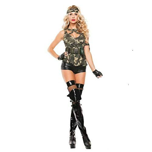 Women Sexy Army Camouflage Suit Police and Spy Costumes Cosplay for Halloween Party Stage Bar Cop Costume(XL)