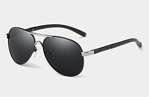 Polarisées Soleil Lunettes Luxe TL Hommes Lunettes de Sunglasses Nuances UV400 silver Guide de pour Les HD de black HqxHC4wI