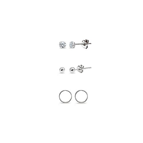 3 Pairs 14K White Gold Unisex 10mm Mini Small Continuous Endless Hoops, Tiny Round 2mm CZ & Ball Bead Stud Earrings Set