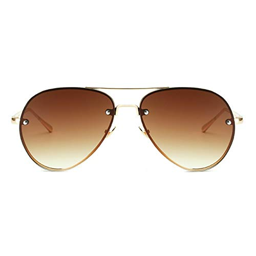 Double Bridge Metal Aviator Sunglasses Vintage Retro Classic Shades UV400 Unisex (Gradient Brown, 62)