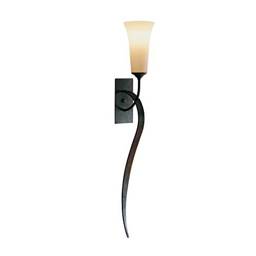 - Hubbardton Forge 204526-1005 Hubbarton Forge Sweeping Taper Sconce, Bronze Finish, Pearl Glass