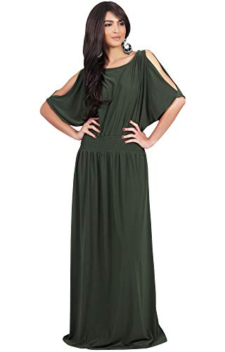 KOH KOH Plus Size Womens Long Split Flowy Short Sleeve Elegant Cocktail Loose Maternity Casual Summer Sexy Sundress A-line Modest Dressy Gown Gowns Maxi Dress Dresses, Olive Green XL 14-16