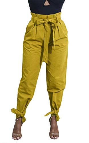 Pants Yellow Ankle - Yissang Women's Casual Loose Paper Bag Waist Long Pants Trousers with Bow Tie Belt Pockets Yellow Medium