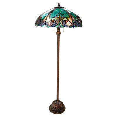 "Chloe Lighting CH18780VG18-FL2 ""LIAISON"" Tiffany-Style Victorian 3 Light Double Lit floor Lamp 18-Inch Shade"