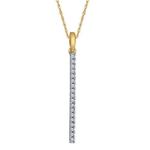 La Joya 1/6 ct Round White Natural Diamond 10K Yellow Gold Stick Long Pendant Mothers Day Jewelry Gift ()