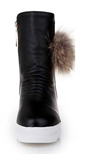 Platform Women's Winter Waterproof Zipper Snow Lined Black CHFSO Mid Fur Heel Trendy Solid Warm Faux Boots fqxvawd