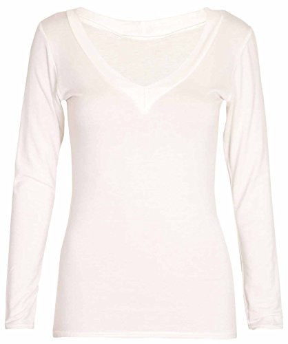 New Ladies Long Sleeve V Neck T-Shirt Top Womens Casual Stretch Fit Plain  Everyday Tops: Amazon.co.uk: Clothing