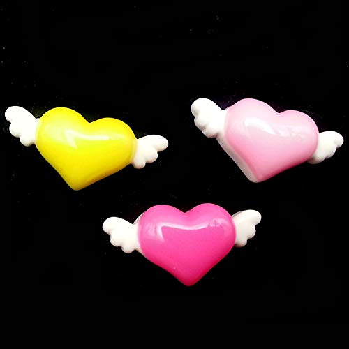 (ZAMTAC 50pcs/Lot 12x26mm Mixed Resin Flatback Cabochons Heart Angel Wings Appliques for Cell Phone Hair Bow Center Craft - (Color: Pink))