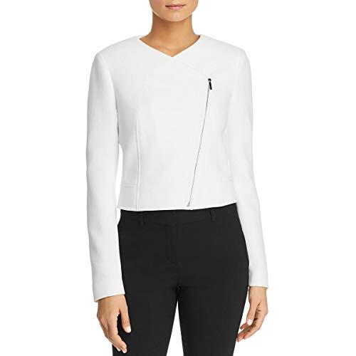 Hugo Boss BOSS Womens Juleama Asymmetric Zip-Front Collarless Blazer White 0 (Suit Women For Hugo Boss)