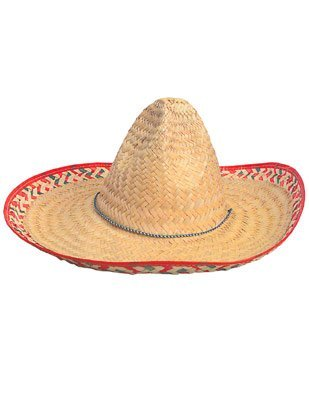 Adult Sombrero Hat With Red Trim - 19