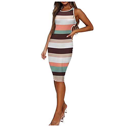 Keepfit Women's Sexy Bodycon Dress, Sleeveless Tie Dye Basic Midi Club Dresses, Summer Dress for Women, Solid Tshirt Dress