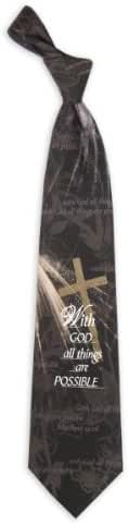 Mens 100% Silk With God All Things are Possible Religious Necktie Tie Neckwear
