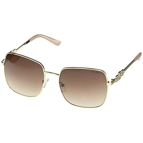 GUESS Factory Rhinestone Square Aviator Sunglasses