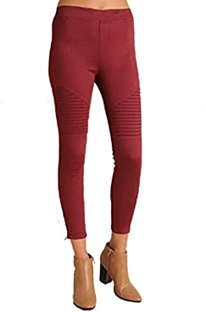 Umgee Washed Motto Jeggings with Pintuck and Zipper Detail (1X, Wine)