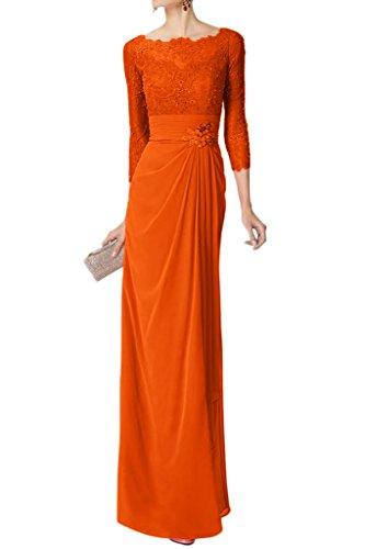 Robe Avril Mère Glamour De La Robe De Mariée Longue Sans Manches En Dentelle Empire Partie Robe Orange