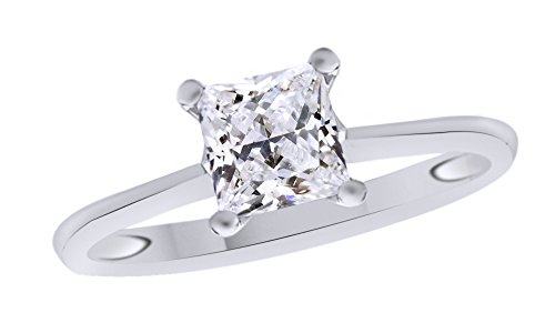 Jewel Zone US Princess Cut White Cubic Zirconia Anniversary Solitaire Ring in 14k White Gold Over Sterling Silver (0.5 Carat)