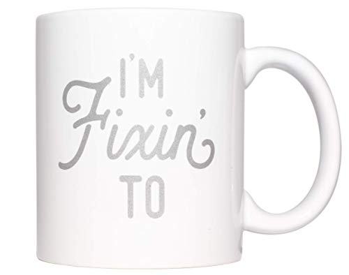 Texas Coffee Mug with I'm Fixin' To Metallic Silver Design Texas Gift with Gift - Mississippi Gift Box