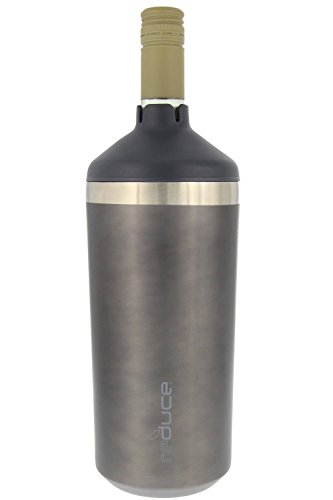 Portable Wine Bottle Cooler by REDUCE-Stainless Steel, Insulated Chiller to Keep Wine at the Perfect Temperature, No Ice Required-Ideal for Outdoor Summer Parties, Fits Most Wine Bottles - Charcoal (Wine Single Bottle)