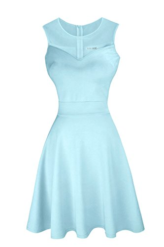 Sylvestidoso Women's A-Line Sleeveless Pleated Little Light Blue Cocktail Party Dress (XL, Light Blue)