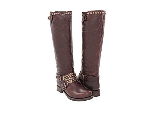 FRYE Women's Jenna Studded Tall Knee-High Boot, Dark Brown, 7 M US ()