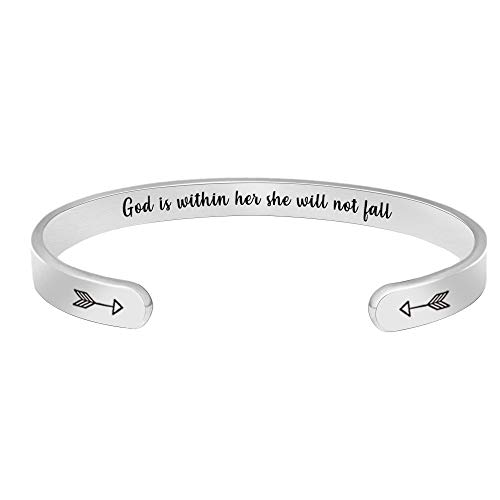 Inspirational Bracelets for Women Men Cuff Bangle Friendship Mantra Jewelry Come Gift Box]()