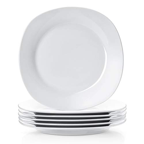 Y YHY 10.5 Inches Porcelain Dinner Plates, Square Round Serving Plate Set, Set of 6, White -