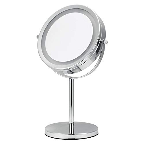 Harbour Mirror - Luxe Harbour Lighted Makeup Mirror - 7x Magnification & Adjustable Locking Suction Cup - Travel Vanity, Modern Tap Light Magnifying Bathroom, Bonus Compact Mirror - Top Gifts for Women
