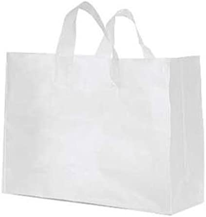 """16/"""" x 6/"""" x 12/"""" Case of 100 Large Clear Frosted Plastic Shopping Bags"""