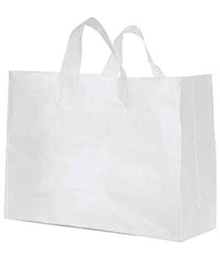 (100 Large Clear Frosted Plastic Shopping Bag - 16 Inch X 6 Inch X 12 Inch Vogue by Merchandise Bag)