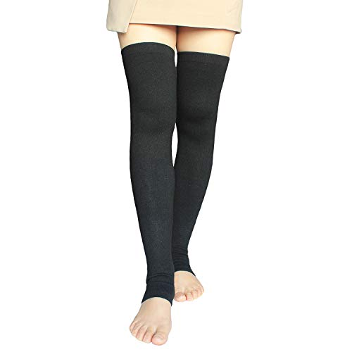 Cashmere Wool Girls - Share Maison Women's Cashmere Wool Winter Warm Knitted Over Knee High Boots Long Socks Leg Warmers (6-Black)