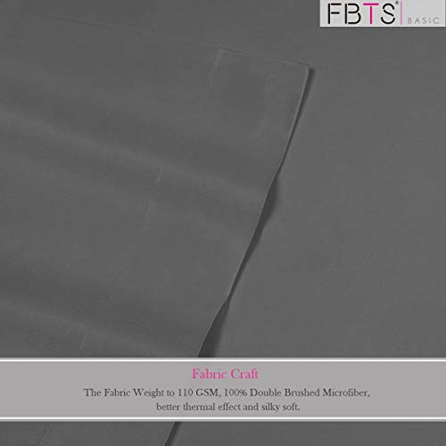 FBTS Basic Bed Sheet Sets Microfiber Sheets Deep Pocket 4 Piece Hypoallergenic (King, Crimson)