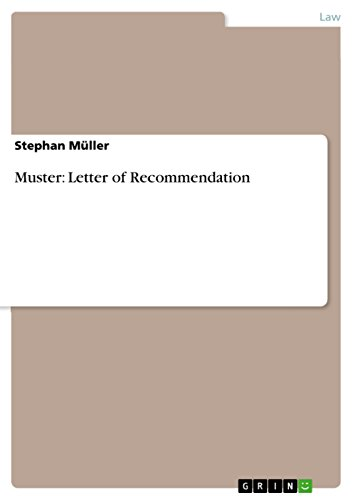 Muster: Letter of Recommendation - Kindle edition by Stephan Müller ...