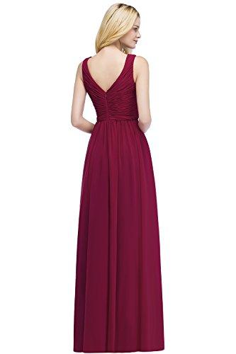 Weinrot Brautjungfernkleid Misshow Elegant Hochzeitskleid Ausschnitt Damen Chiffonkleid Lang V Abendmode ZvHZzq
