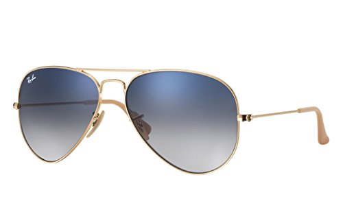 Ray-Ban RB3025 Aviator Sunglasses (55 mm, Gold Metal Frame/Blue Gradient Lens)